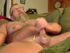 Muscle Daddy Jerks Off On Couch