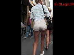 Candid Latina Girl Shorts Bubble butt Street creep shot