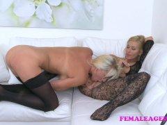 FemaleAgent Busty babe licks agent for money
