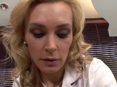 MILF masseuse seduces her hot brunette client