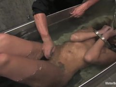 Naked beauty tied up in prison, masturbate pussy and bathed