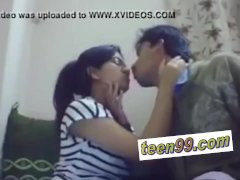 Indian school studend kissing deeply to love