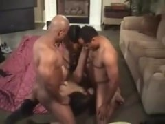 Brunette slut wife in BBC gangbang