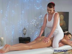 Massage Rooms Massive tits gets licked by lez