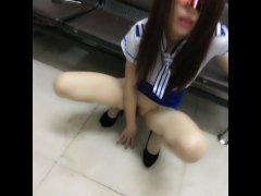 chinese girl Lulul in wet panthose solo