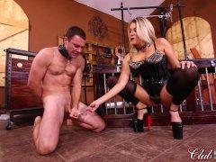 Goddess Nikki Pegs Her Bitch & Feeds Him Cum