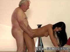 Teasing old man and granny black snap...