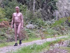 741 RT Nudist walks naked men forest woods