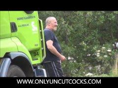 Super Huge Trucker Jerking Outside