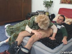 Hot old mature woman pleases young guy