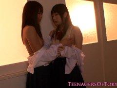 Nippon les teen kissing schoolgirl babe