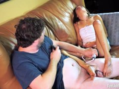 Hot amateur girl cums while giving a footjob