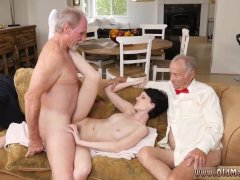 Old and young double footjob first time