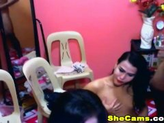 Hot and Sexy Shemale Trio Jack Off on Cam