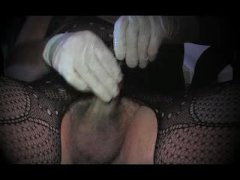 Travesti shemale in sounding urethral cock and pantyhose nylon