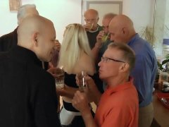 Hot young blonde gangbang fucking seven old men facials and anal meeting