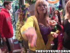 Group of babes flash their tits at Mardi Gras