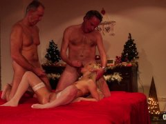 Orgy for Christmas sexy girl Nesty gangbang fuck with 8 old men