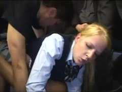 Schoogirl (Haley Cummings) groped and fucked in the bus by  japaneses