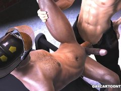 3D ebony fireman gets fucked in the ass