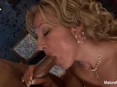 Sexy blonde granny takes a black cock...