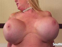 Giant boobed mature woman fucks and eats cum