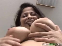 Latina loces sucking and being tit fucked
