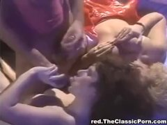 Whores in fishnets have sex with older man