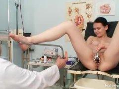 Busty babe gyno exam by filthy elder doctor