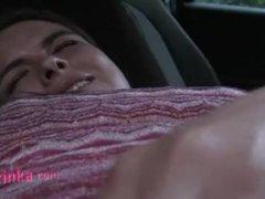 Zuzinka masturbates until orgasm in the car