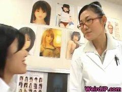 Super hot Japanese babes doing weird sex