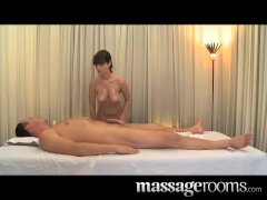 Beautiful busty masseuse satisfies cock