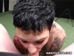 Tattooed amateur MILF homemade blowjob