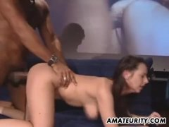 Amateur girlfriend interracial action