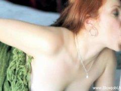 Beauty In Green Redhead MILF Blowjob