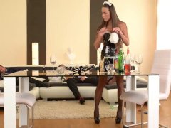 Flexible French Maid gets her Ass Double Penetrated by Boss