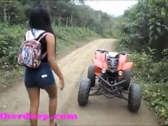 Heather Deep 4 wheeling on scary fast quad and Peeing next to horses in the
