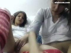 Outstanding two young teens latinas masturbate together on cam