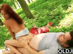 Beautiful Young Girl Hardcore Fucks Grandpa In the Forrest gets facial cum