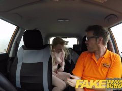 Fake Driving School Creampie for teen leaner with hairy pussy and pigtails