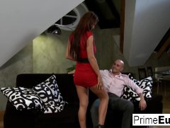 Busty brunette Roxy knows how to satisfy her man