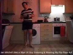 Ian Mitchell (Me) Twink Sneezing in My Flip Flops