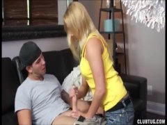 Super hot blonde handjob