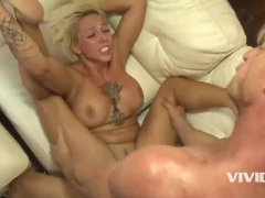 This tight blonde bitch gets her tight hole pounded by her stepdad