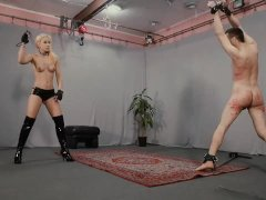 Hard whipping punishment by very hot cruel blonde mistress