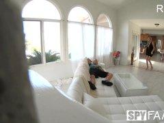 SpyFam Step mom Brett Rossi massages step sons huge dick