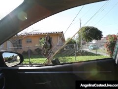 Cuban BBW Angelina Castro Blows A Hard Cock For A Lift Home!