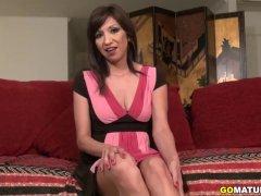 American temptress Selena masturbating on the couch