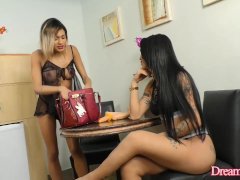Transsexual Girlfriends Dani Peterson and Nicolly Pantoja Play with Dildos