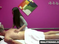 Reality Kings - Half asian teen rubs and tubs in the back room on camera